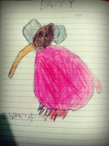 Damy si Gajah Kecil, karya Naya. Pensil Warna di Atas Kertas.