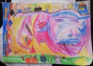Kolam Ikan. Karya Naya, Mei 2015 Pensil warna di atas kertas