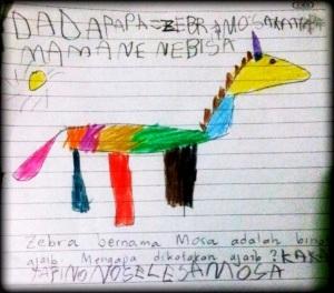 Moza si Zebra yang Terperangkap dalam Mesin Es Krim, karya Naya. Pensil Warna di Atas Kertas.